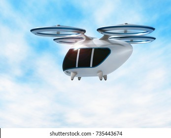 Concept of city air passenger transport. Drone taxi. 3d  illustration