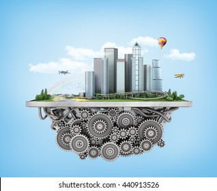 Concept of city. City with trees, grass and clouds on the gears mechanism on a blue background. 3d illustration