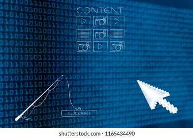 concept of clickbait on online content: blog post icon with fishing rod holidng Clickbait button and oversize pointer below it