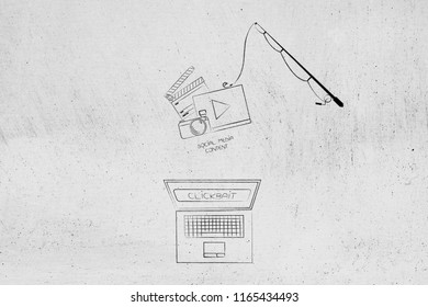 concept of clickbait on online content: laptop with Clickbait text on the screen and fishing rod with social media content above it