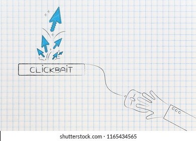 concept of clickbait on online content: clickbait button with group of mouse pointer clicks coming from it and laptop mouse attached to it with hand clicking