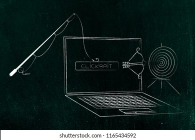 concept of clickbait on online content: fishing rod holding clickbait button in front of laptop with target and arrow