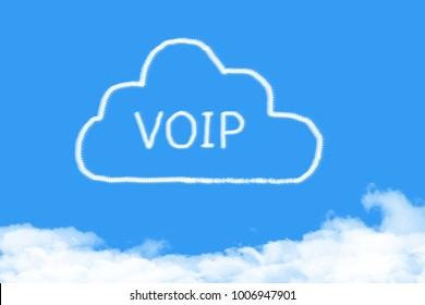 concept cloud VOIP shape on blue sky