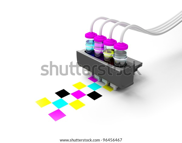 Concept cmyk model. Tintenpatrone mit Tinte in Glasflaschen auf weißem Hintergrund