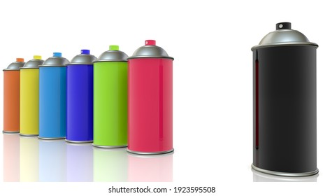 Concept of colorful spray cans.3d illustration