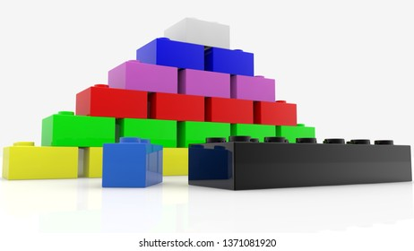 Concept of colorful toy bricks in various colors.3d illustration