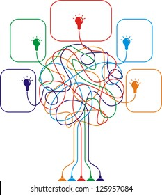 Concept of colorful tree with bulbs for different business design. Raster version, vector file available in portfolio.