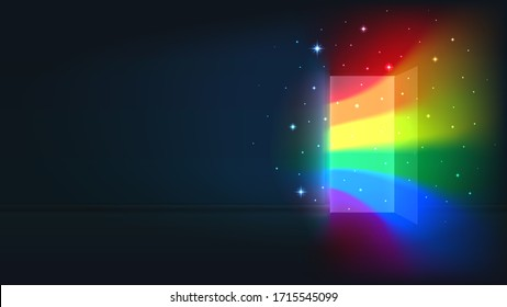 Concept coming out LGBT - LGBT rainbow light from the open door of a dark room. Symbol of lesbian, transgender, gay, bisexual. National coming out day. Open door rainbow shine. Illustration