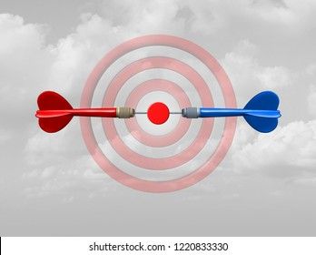 Concept of competition as a business success symbol as rivals compete for the same target bullseye as dart arrows focused on the central goal as a 3D illustration.