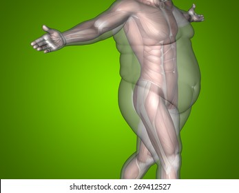 Concept or conceptual 3D fat overweight vs slim fit diet with muscles young man green gradient background, metaphor weight loss, body, fitness, fatness, obesity, health, healthy, male, dieting, shap