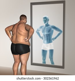 Concept or conceptual 3D fat overweight vs slim fit with muscles young man on diet reflecting in a mirror metaphor weight loss, body, fitness, fatness, obesity, health, healthy, male, dieting or shape