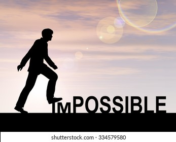 Concept conceptual 3D human man or businessman as black silhouette stepping over impossible or possible text at sunset metaphor to success, challenge, motivation, achievement, business, goal or hope
