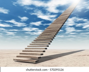 Concept or conceptual 3D illustration stair steps to heaven on sky background in desert with clouds for success, career, work, job, achievement, development, growth, progress, vision, future or faith
