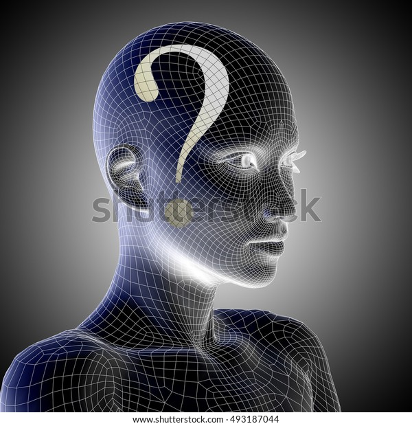Concept or conceptual 3D illustration wireframe human female question ask head on gray background for technology, cyborg, digital, girl, virtual, avatar, model, science, fiction future
