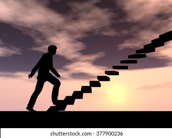 Concept or conceptual 3D male businessman on stair or steps over sunset sky background metaphor to success, climb, business, rise, achievement, growth, job, career, leadership, education, goal future