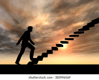 Concept or conceptual 3D male businessman on stair or steps over sunset sky background metaphor to success, climb, business, rise, achievement, growth, job, career, leadership, education, goal, future