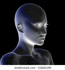 Concept conceptual 3D wireframe human female head isolated on black background as metaphor for technology, cyborg, digital, virtual, avatar, model, science, fiction, future, mesh abstract