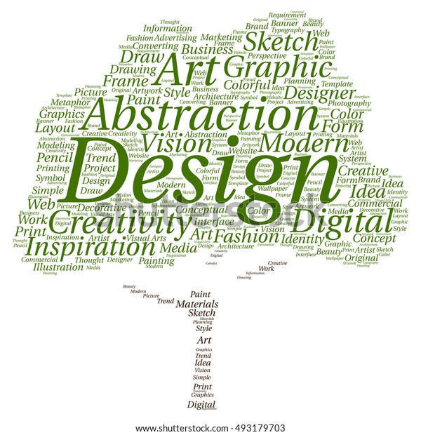 Concept or conceptual creativity art graphic design tree word cloud isolated on background metaphor to advertising, decorative, fashion, identity, inspiration, vision, perspective or modeling