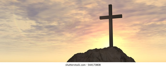 Concept or conceptual cross religion symbol shape over sunset sky with clouds background, metaphor to God, Christ, Christianity, lige, religious, faith, holy, spiritual, Jesus, belief or resurection