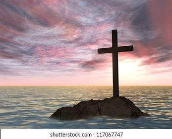 Concept or conceptual dark christian cross standing on a rock in the sea or ocean over a beautiful sky at sunset as a metaphor for faith, religion, religious, belief, jesus, christ, spiritual, church