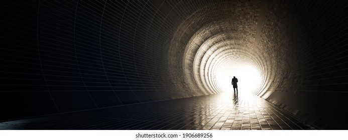 Concept or conceptual dark tunnel with a bright light at the end or exit as metaphor to success, faith, future or hope to new opportunity or freedom 3d illustration