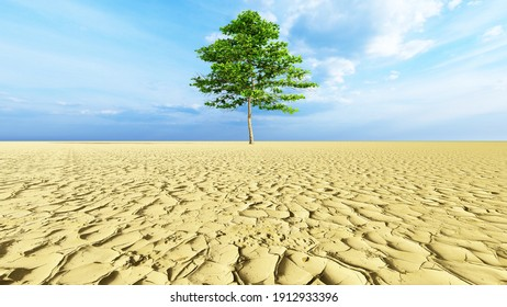 Concept or conceptual desert landscape with a green tree as a metaphor for global warming and climate change. A warning for the need to protect our environment and future 3d illustration