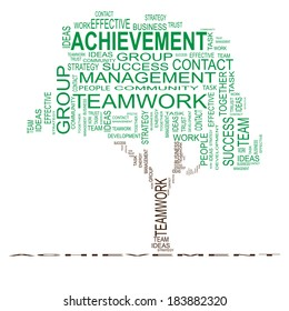Concept or conceptual green text word cloud or tagcloud isolated on black background, metaphor for business, team, teamwork, management, effective, success, communication, company, group or symbol