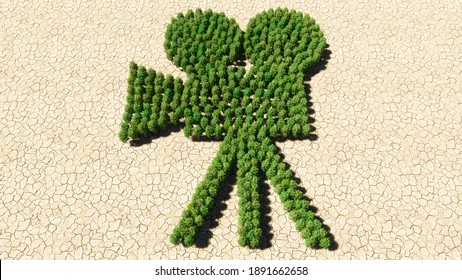 Concept or conceptual group of green forest tree on dry ground background as sign of retro video camera. A 3d illustration metaphor for movie production, television, old motion media recording