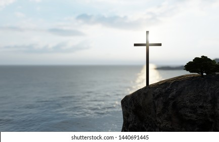 Concept or conceptual religious christian cross standing on rock in the sea or ocean over beautiful sunset sky. A background for faith, religion belief, Jesus Christ, spiritual church 3D illustration