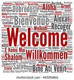Concept or conceptual square welcome or greeting international word cloud in different languages or multilingual, metaphor to world, foreign, worldwide, travel, translate, vacation or tourism