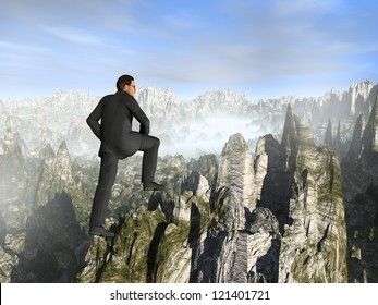 Concept or conceptual young 3D male businessman climbing high mountain,metaphor to business,business,business,job,freedom,successful,manager,achievement,confidence,rise,difficulty,strong or leadership