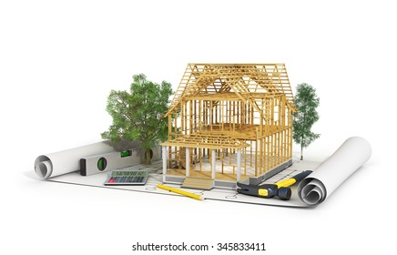 Concept of construction. 3d render of house in building process with trees, calculator and pencil on the blueprint. We see constituents of roof frame and insulation layer.