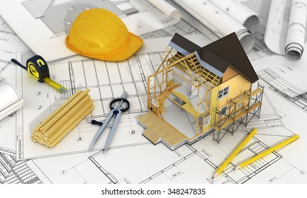 Concept of construction and architect design. 3d render of house in building process with tree, calculator and pencils on the blurred blueprints. We see constituents of roof frame and insulation layer