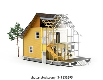 Concept of construction and architect design. 3d render of house in building process with tree. Transition from sketch to model. We see constituents of roof frame and insulation layer.