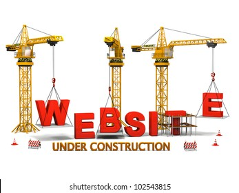 Concept of construction cranes building a website isolated on white background