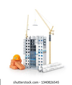 concept of construction. High-rise building with insulated facade. drawings with a plan and building materials near the building. 3d illustration
