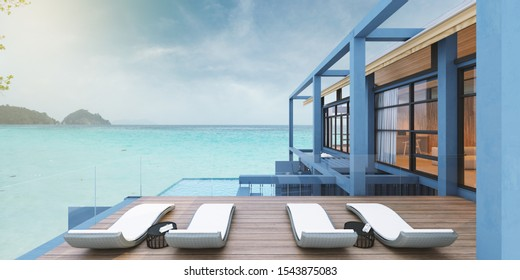 Concept Container house by the sea in blue with beautiful pool,3d render