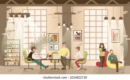 Concept of the coworking office. People work together in coworking place.Co-workers talking and working at the computers in the open space office. Flat style illustration.