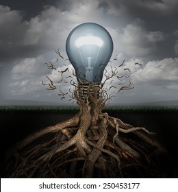 Concept of creativity and the rise of ideas as a light bulb emerging out from underground roots breaking free from confining branches as a success metaphor.
