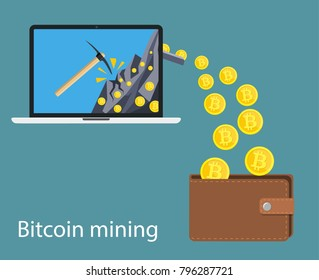 concept of cryptocurrency technology, bitcoin making, bitcoin mining, e-wallet. Computer notebook with bitcoin symbol relocating into wallet. illustration in flat style