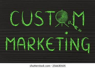 concept of custom marketing, target illustration