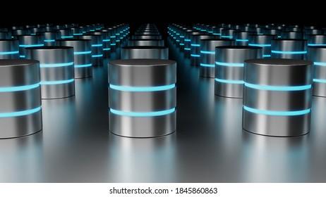 Concept data center 3D render on dark background. Disc cylinders with blue backlight.