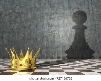 Concept of deception, exposure and bluff. Golden crown that throws a shadow of a pawn. 3D illustration