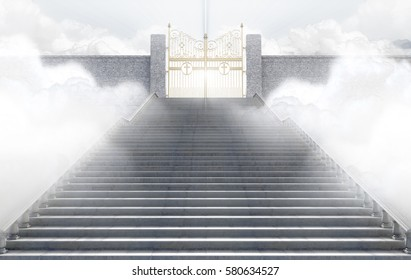A concept depicting the majestic pearly gates of heaven surrounded by clouds and the staircase leading up to them - 3D render