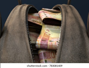 A concept depicting an open brown leather duffel bag revealing bundles of illicit rolled south african rand notes - 3D render