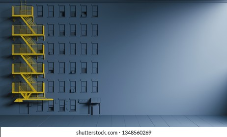 Concept design of emergency stairs on blue background. Yellow emergency exit stairs on blue house. 3d illustration