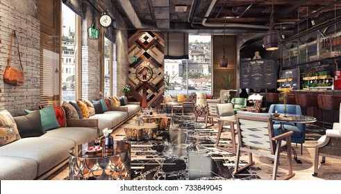 "Concept design of modern Restaurant lounge bar ""Train Station"" 3D Rendering, 3D Illustration"