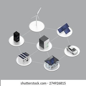 Concept design for stationary battery system. Storage electric power generated from solar and wind power. Clipping path available.