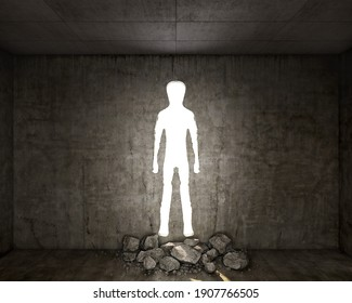 Concept of destroyed concrete wall with a hole in a shape of man, 3d illustration