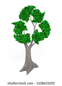 Concept of developing circular economy and environmental protection industry, tree with green leaves in form of recycling symbol, isolated on white, 3D illustration.
